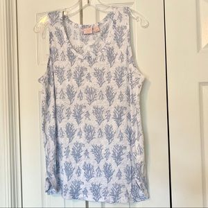 St.Tropez West blue sea coral print linen tank top